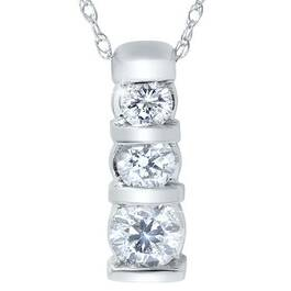 1ct 3-Stone Diamond Bar Set Pendant 14 Karat White Gold (H/I, I2)