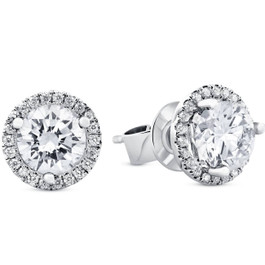 Halo Diamond Studs 2.20 Ct 18k White Gold Enhanced (E, SI)