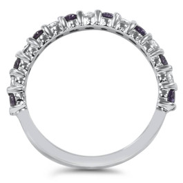 1/2ct Alexandrite & Diamond Half Eternity Ring 14K White Gold SZ5 (Not Enhanced) (G/H, SI2-I1)
