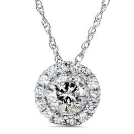 1ct Diamond Halo Pendant 14K White Gold (I-J, I2-I3)