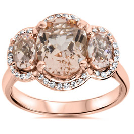 2 3/4ct Morganite 3 Stone Diamond Oval Halo Ring 14K Rose Gold (H/I, I1-I2)