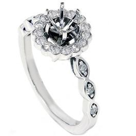 1/4ct Vintage Diamond Ring Semi Mount 14K White Gold (G/H, I2)