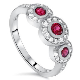 1ct Ruby & Diamond Three Stone Ring 14K White Gold (G/H, I1-I2)
