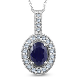 Oval Blue Sapphire Diamond Solitaire Pendant 14K White Gold (G/H, I2)