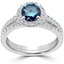 1 1/2 ct Blue Diamond Halo Engagement Wedding Ring Set 14k White Gold (I/J, I1-I2)