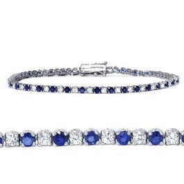 3ct Blue Sapphire & Diamond Genuine Tennis Bracelet 14K White Gold (G/H, I1)