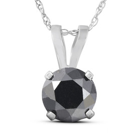 "1 CT Black Diamond Solitaire Pendant-Necklace in White Gold on an 18"" Chain (Black, AAA)"