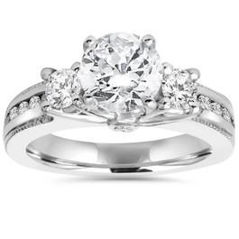 2 ct 3-Stone Round Diamond Engagement Ring 14k White Gold Milgrain Accent ((G-H), SI(1)-SI(2))