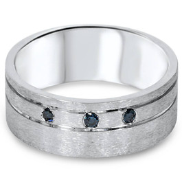 1/10ct Mens Blue Diamond Comfort Fit Brushed Wedding Band 10K White Gold (Blue, I1-I2)