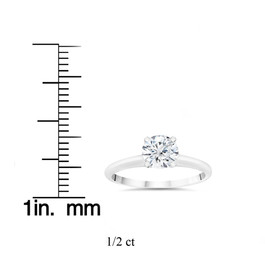 1/2ct Lab Grown Diamond Solitaire Engagement Ring 14k White Gold (F, VS)