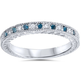 1/6ct Blue & White Diamond Vintage Wedding Ring 14K White Gold (G/H, I1-I2)