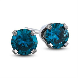 1ct Blue Diamond Studs 14K White Gold (Blue, I1)