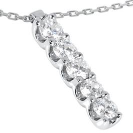 14K White Gold 1 1/4ct Journey Genuine Diamond Pendant (H/I, I1-I2)