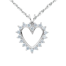 1/2Ct Diamond 14K Solid Gold 1 Inch Heart Pendant Necklace (G/H, I1-I2)