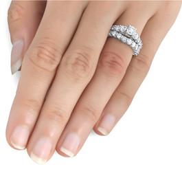2 1/15ct Diamond Engagement Ring With Matching Wedding Band 14K White Gold (I-J, I1-I2)