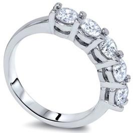 1ct Diamond Wedding Five Stone Ring 14k White Gold (G/H, SI(2)-I(1))