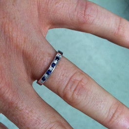 1/3ct Diamond & Blue Sapphire Anniversary Wedding Ring (H, I2/I3)
