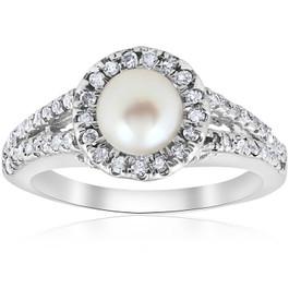 Diamond Pearl Halo Ring 14K White Gold (G/H, I1)