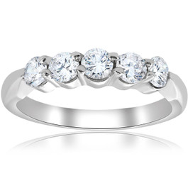 5/8ct VS Round Diamond Wedding Ring 14K White Gold (F, VS)