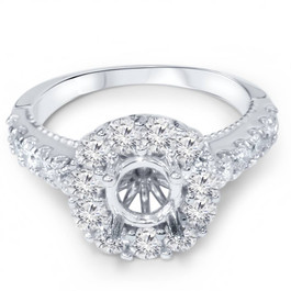 1ct Halo Diamond Engagement Ring Setting 14K White Gold (G/H, I1)