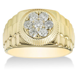 3/4ct Diamond Mens Ring 14K Yellow Gold (G/H, SI2)
