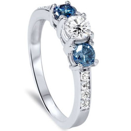 1ct Blue Diamond 3 Stone Engagement Ring 14K White Gold (G/H, I1)