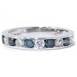 1ct Channel Set Blue & White Diamond Ring 14K White Gold (G/H, I1)