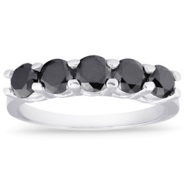 1ct Five Stone Black Diamond Wedding Ring 14K White Gold (Black, )