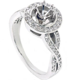1/4ct Diamond Engagement Halo Ring Semi Mount 14K White Gold (G/H, I2-I3)