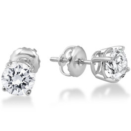 1ct Round Diamond Stud Earrings in 14K Whte Gold with Screw Backs (I-J, I1)