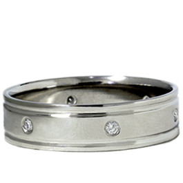 Mens 14K White Gold Polished Diamond Wedding Band Ring (G/H, SI)