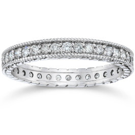 5/8ct Vintage Diamond Hand Engraved Eternity Ring 14K White Gold (G/H, I2)
