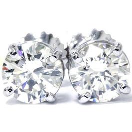 4 Carat Diamond Studs 14K White Gold With Screw Backs (H-I, SI1-SI2)