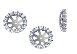 SI 3/4ct Diamond Earring Studs Halo Jackets 14 Kt Fit 1 1/4ct Diamonds (6.5-7mm) (G-H, SI)