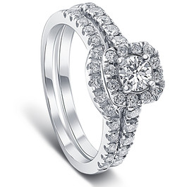 1 1/4ct Cushion Halo Diamond Engagement Matching Wedding Ring Set 14K White Gold (G/H, I1)