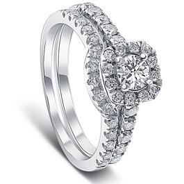 1 ct Cushion Halo Diamond Engagement Matching Wedding Ring Set 14K White Gold (G/H, I1)
