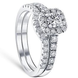 1 1/4ct Cushion Halo Diamond Engagement Matching Wedding Ring Set 14K White Gold (G/H, I1)