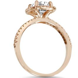 1 1/2ct Lab Created Diamond Cushion Halo 14K Rose Gold Engagement Ring (F, VS)