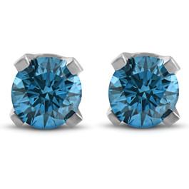 3/8ct Blue Diamond Studs 14 Karat White Gold (Blue, I2-I3)