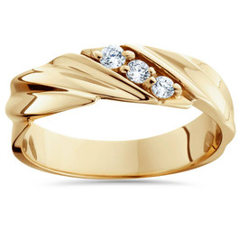 1/10ct Diamond 14K Yellow Gold Mens Wedding Ring (H/I, I2)