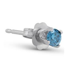 1/8ct Single Blue Diamond Stud 14K White Gold (blue, I2-I3)