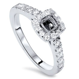 1/2ct Cushion Halo Diamond Ring Semi Mount 14K White Gold (G/H, SI2)