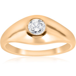 1/2CT Mens Diamond Solitaire Ring 14K Yellow Gold (G/H, I1)