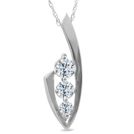 1/2ct Three Stone Diamond White Gold Pendant Necklace (G/H, I1)