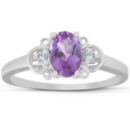 1 1/4ct Oval Amethyst & Diamond Ring 14K White Gold (G/H, SI2)