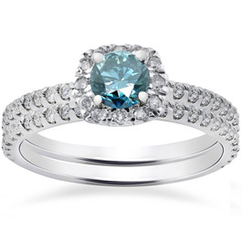 1ct Cushion Halo Blue Diamond Engagement Ring Set 14K White Gold (G/H, I1-I2)