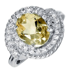 2 7/8ct Oval Citrine Vintage Oval Diamond Womens Braided Ring 14K White Gold (G/H, I1)