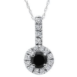 3/4ct Black & White Halo Diamond Pendant 14K White Gold (G/H, I2)