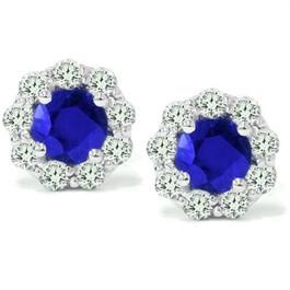 2 1/2ct Blue Sapphire & Diamond Studs 14K White Gold (G/H, I1)