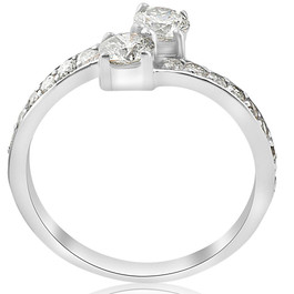 Forever Us Two Stone Round Diamond 1.00Ct Solitaire Ring 14k White Gold ((G-H), SI1-SI2)